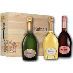 champagne ruinart coffret 3 bouteilles cave urbaine bois brut blanc de blancs rose 75cl